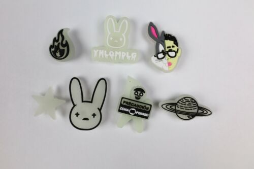 NEW 7 pc BAD BUNNY Shoe Charms FOR Croc & Bracelet & shoe Wristband Glow In Dark