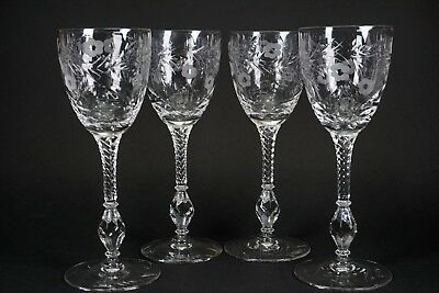 Libbey Rock Sharpe Antique Cut Glass Cranbook Set of 4 Claret Wine Glasses