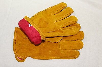 Fleece Lined Russet Cowhide Leather Outdoor Autumn Winter Work Gloves Small