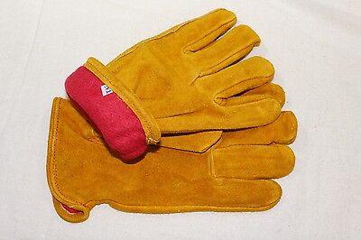 Fleece Lined Russet Cowhide Leather Outdoor Autumn Winter Work Gloves Medium