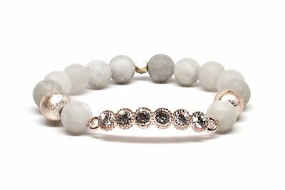 Druzy Beaded Bracelet With Gold Bar W/ Rhinestones and Natural White Matte Beads