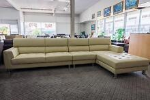 New 5 Seater Chaise Full Leather Lounge Set Cream WAS $3000 SALE Roselands Canterbury Area Preview