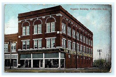 Masonic Building Coffeyville Kansas Ks 1908 Montgomery County Masons
