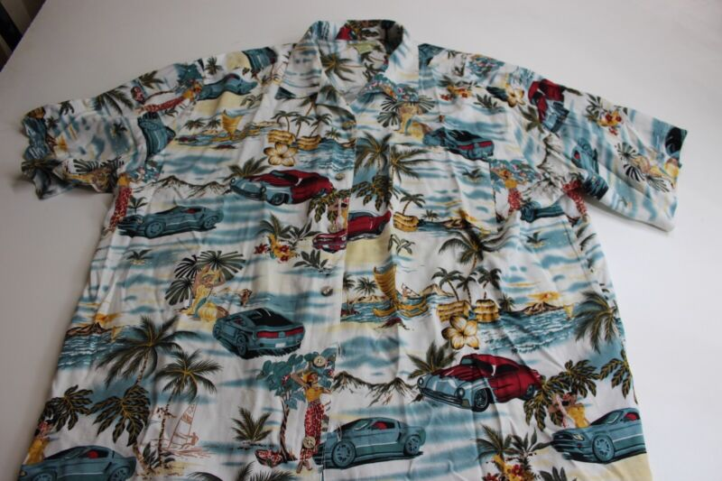 a553e81d Islander Collectible Hot Rod Car Classic Artwork Hawaiian CAMP SHIRT ...