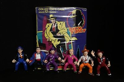 Disney Dick Tracy LOT Of 6 Toy Action Figures + Storage Case