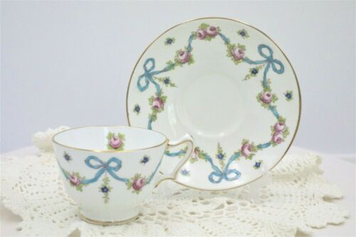 Vintage Crown Staffordshire BLUE BOWS Cup and Saucer Set Made in England     (D)