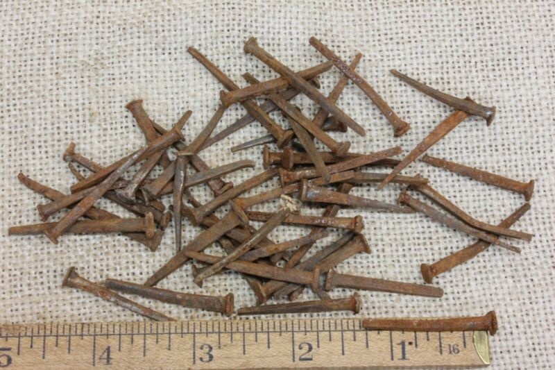 50 Old Used NAILS BRADS 1 1/4 To 1 1/2 Vintage 1850 s Square Rusty Patina Bent - $16.49