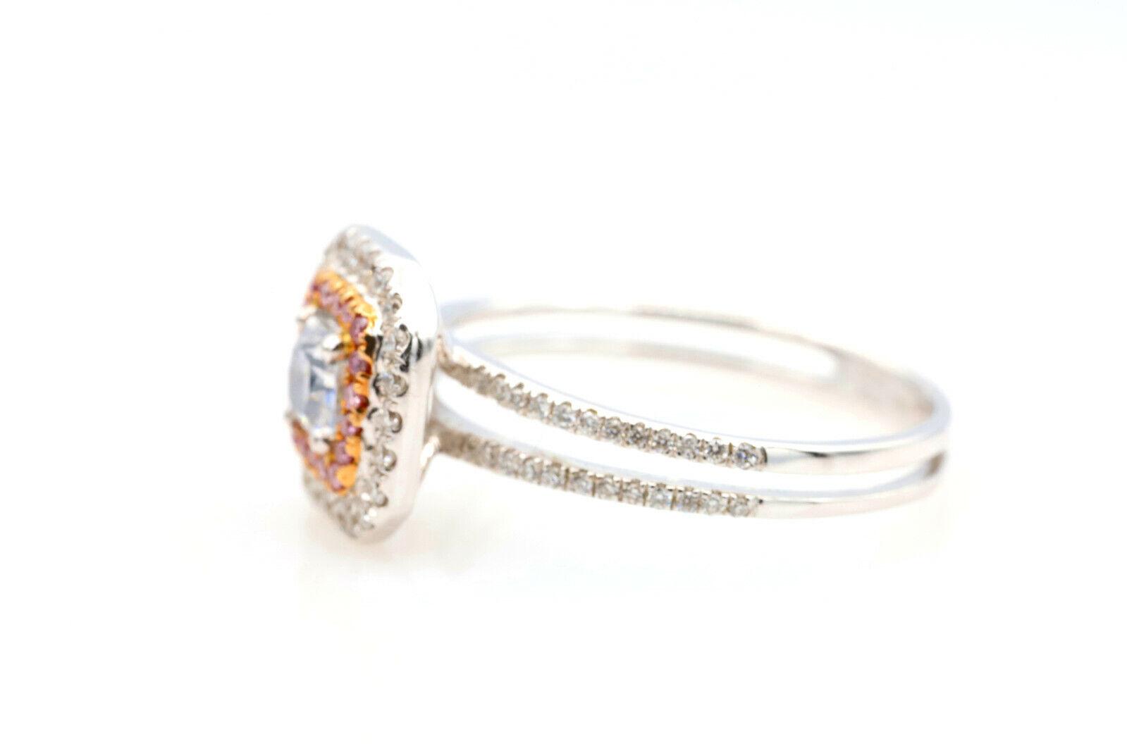 0.65ct Light Blue & Argyle 6PP Intense Pink Diamond Engagement Ring GIA 18K SI2 3