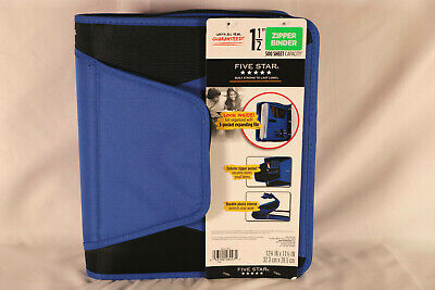 Five Star Blue Zipper Binder One And A Half Inch 500 Sheet Capacity New