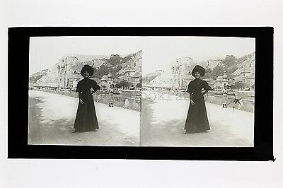 Belle fashion woman 1900 Belgium large plate stereo positive