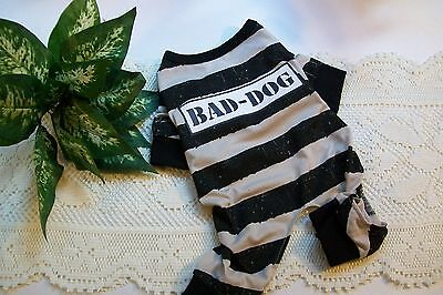 BAD-DOG Prison Pajamas Puppy pet Pj's pjs S costume halloween new Small longjohn - Prisoner Halloween Costumes For Dogs