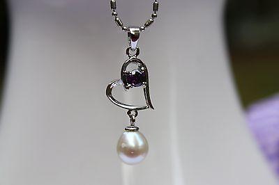 P47 Süßwasser Perlen Schmuck Anhänger ohne Halskette Perlenkette 925 Silber neu!