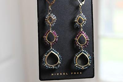 Dana Kellin For Target Triple Drop Chandelier Earrings Beaded Open Frame
