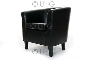 NEW FAUX LEATHER CLASSIC TUB CHAIR ARM CHAIR NEXT DAY PRE 12 DPD DELIVERY