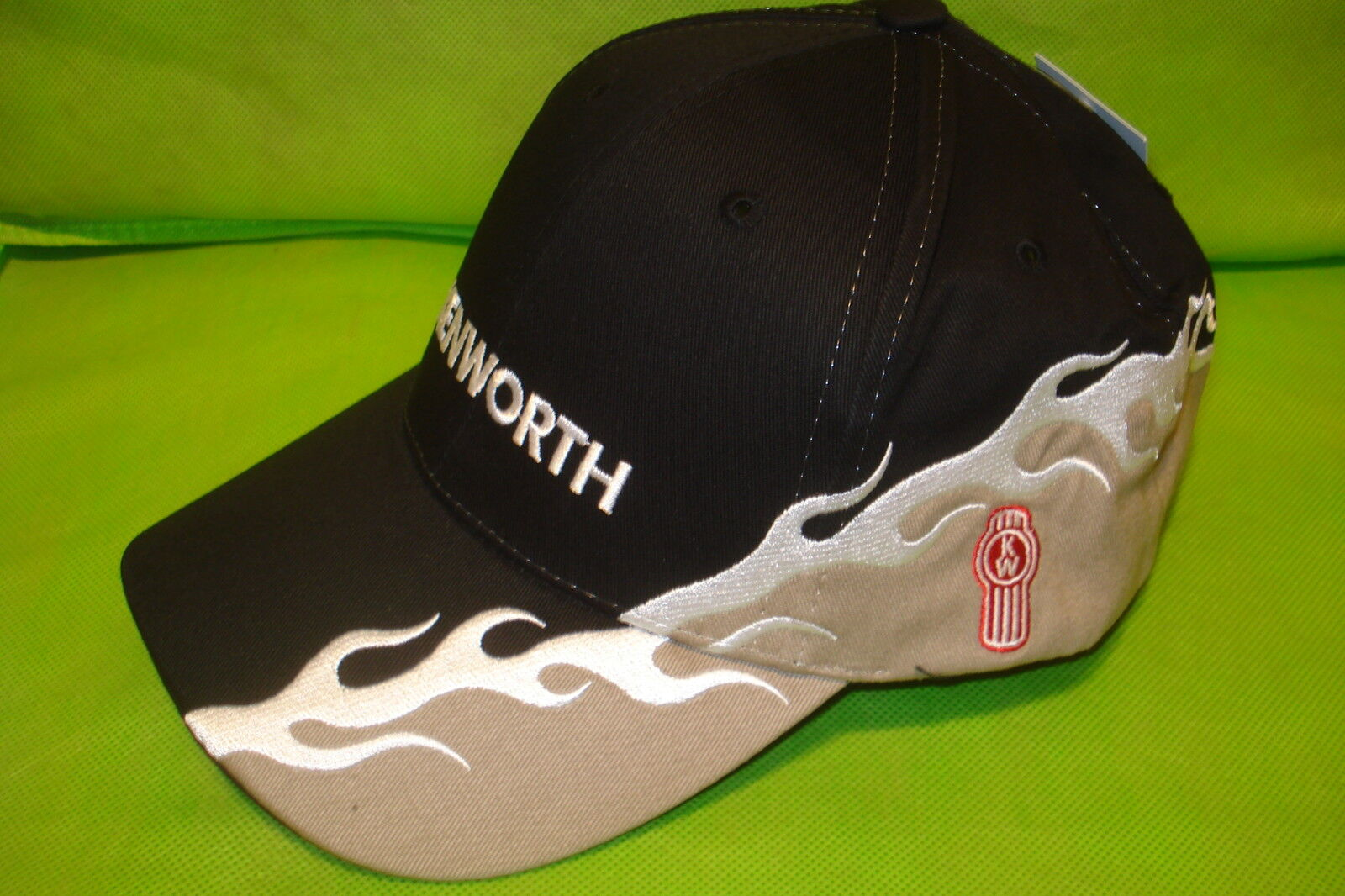 Kenworth Hat: Black / Tan W / Silver Flame Cap Free Shipping