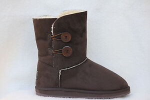 Ugg-Boots-2-Button-Synthetic-Wool-Colour-Chocolate-Size-8-Ladys