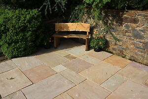 Sunset Buff Indian Sandstone Paving. 25-35mm. Patio Packs