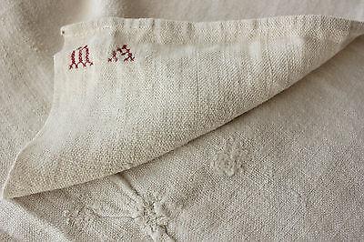 Antique French soft PALE homespun hand / kitchen  timeworn towel 18th c
