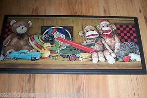 Sock Monkey Antique Toy Wall Decor sign wood plaque country vintage theme sign
