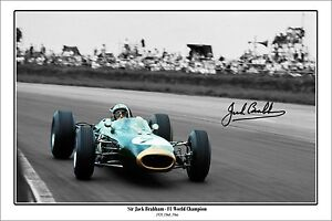 * JACK BRABHAM * Signed poster of F1 world champ! Perfect present or memorabilia