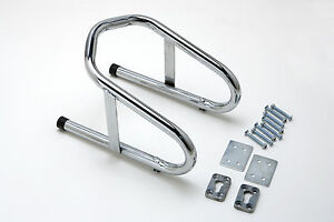 Motorcycle-Removable-Wheel-Chock-Nest-Tire-Trailer-Chrome-5-yr-Warranty-6-1-2