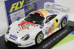 FLY-A52-PORSCHE-GT1-EVO-DAYTONA-1973-NEW-1-32-SLOT-CAR-IN-DISPLAY-CASE
