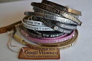 Goodworks-Humanity-for-All-Leather-Bracelet-Wrap-Around-Metallic-Serenity-Prayer