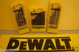 SET OF 3 DEWALT DT5912 HSS METAL DT4535 WOOD & DT6952 MASONARY DRILL BITS