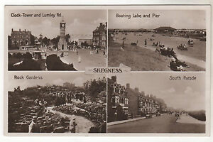 Skegness-Multiview-Real-Photo-Postcard-c1930