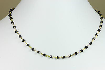 Black Spinel Faceted Necklace Beaded Gemstone Vermeil 14k Gold Chain 18 19 Inch
