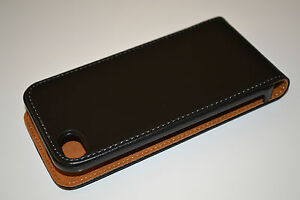 Black iPhone 4 4s Genuine Leather Flip Phone Case Cover Skin + Free SP, NEW!