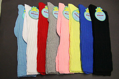 2 Ladie's Heavy Cotton Blend Black,red,white,gray Slouch Socks 9-11 Long 15 Inch