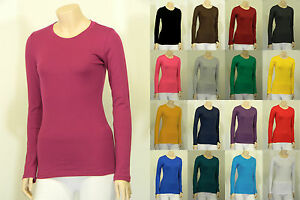 Cotton-T-SHIRTS-CREW-ROUND-NECK-Long-Sleeve-Women-Junior-Solid-Top-S-XL-SJ2900