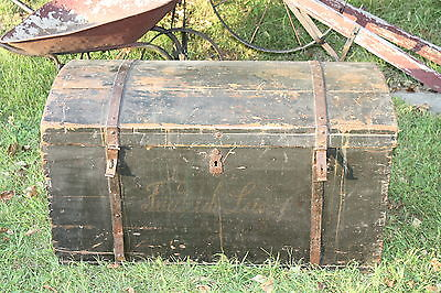 Chest Dome Steamer Trunk tall ship trunk very old on Rummage