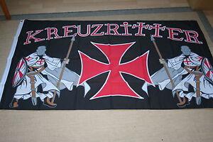 Fahne Flagge  2 Kreuzritter  Templer Mittelalter  90 x 150    NEU
