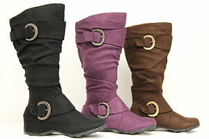NIB-Womens-Faux-Suede-Slouch-Flat-Buckle-Comfort-Boots