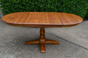 Ethan-Allen-Vintage-Country-Craftsman-Pine-Dining-Table-Kitchen-Table-w-2-Leaves