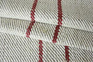 Vintage-HEMP-homespun-table-runner-length-5-6-yards-red-stripe-rustic-fabric