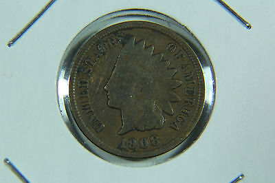 1908 S INDIAN HEAD CENT KEY DATE PENNY FINE CONDITION