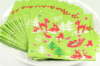 (40) Christmas Cocktail Holiday Beverage Paper Napkins, Party Supplies, Green,#2