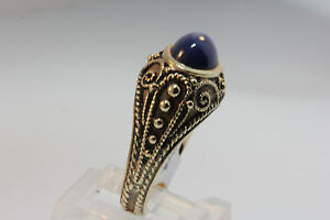 VTG-LADYS-14k-ANTIQUE-SCROLL-Y-GOLD-CREATED-BLUE-STAR-SAPPHIRE-RING-SZ-6-75