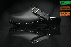 size 10 UK / 44 EU Men's wooden clogs, swedish , Black  leather
