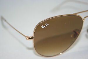AUTHENTIC-NEW-RAY-BAN-AVIATOR-SUNGLASSES-RB3025-Gold-Gradient-Brown-Lens-58mm