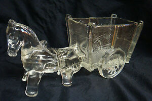 Vintage-Clear-Pressed-Glass-Donkey-Cart-Candy-Dish-A-True-Classic