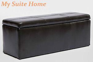 Max Brand New Black Faux Leather Storage Ottoman with 3 Foot Stools Rests
