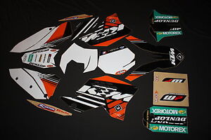 KTM 125/530 07 - 10 SX SXF EXC, FACTORY GRAPHICS KIT WHITE