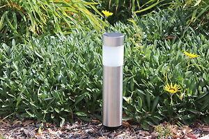 8-pack Garden Solar Power Landscape Path Bollard Lights - Stainless Steel