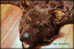 fur accents faux fur bear skin rug brown log cabin fake taxidermy - Bearskin Rug