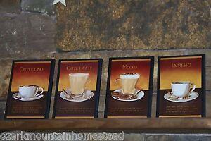 Http Ebay Com Itm Coffee Mocha Espresso Cappuccino Latte Kitchen Wall Decor Plaques 4 Pc Signs 290965545166