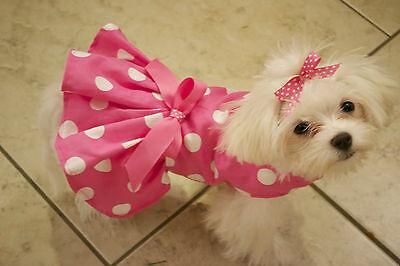 Small Big Pink Dots Dress - Dog Dress Clothes- Puppy Apparel